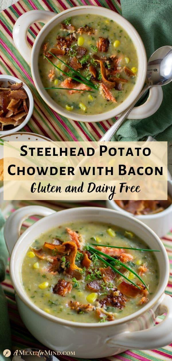 steelhead potato chowder with bacon pinterest collage