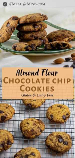 Almond Flour Dark Chocolate Chip Cookies pinterest collage 1