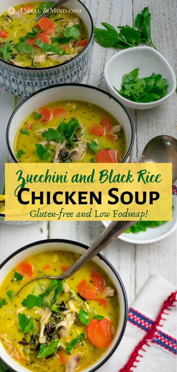 Chicken, Black Rice and Zucchini Soup pinterest collage