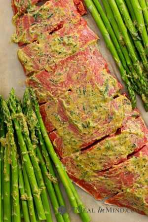 Pecan Mustard Salmon with Asparagus on baking pan