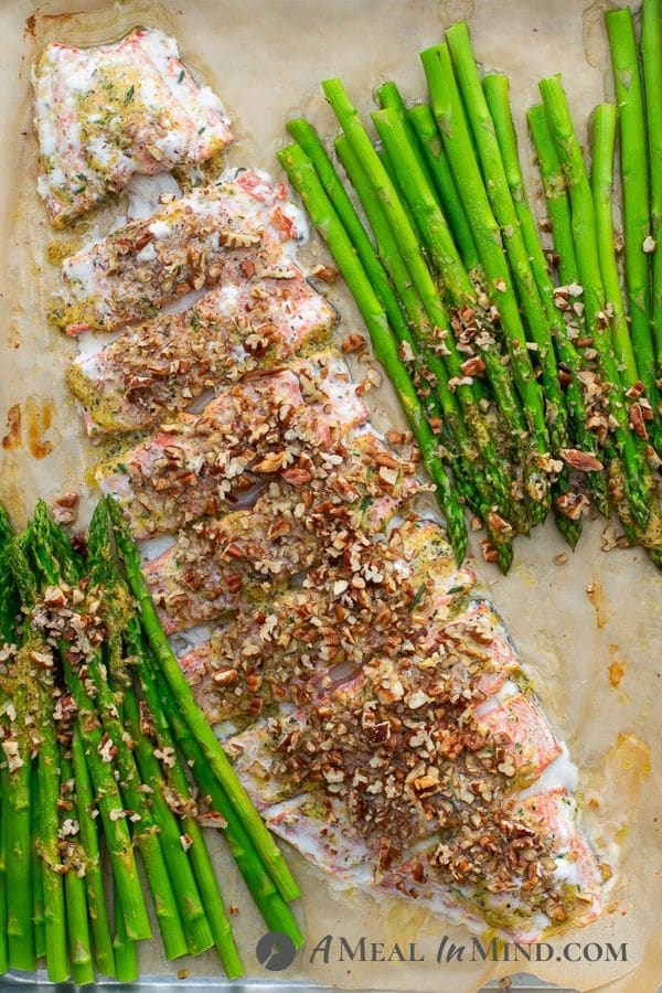 Pecan Mustard Salmon with Asparagus baked on parchment