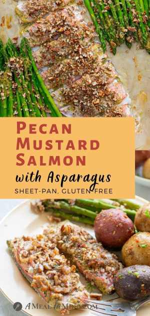 Pecan Mustard Salmon with Asparagus pinterest collage