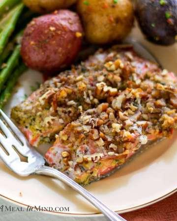 Pecan Mustard Salmon with Asparagus