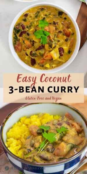 Spinach and Coconut 3 Bean Curry pinterest collage