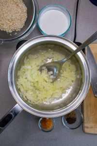 Coconut Turmeric Rice sauteeing onions