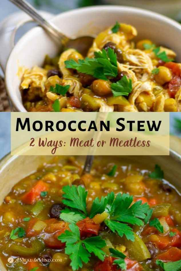 moroccan stew 2 ways pinterest collage