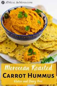 Moroccan Roasted-Carrot Hummus in patterned bowl with chips pinterest image