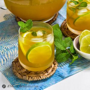 Turmeric-Ginger Lemon Tea in clear glasses with pitcher