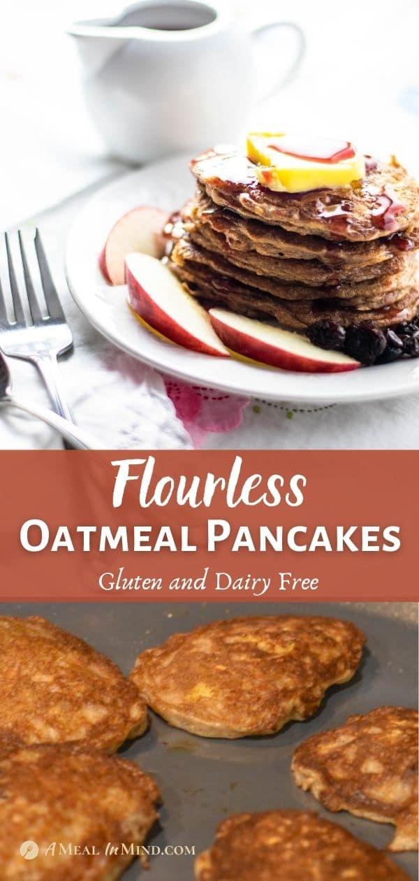 flourless oatmeal pancakes pinterest collage