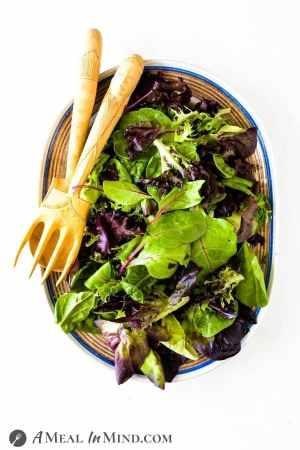 spring salad greens on platter