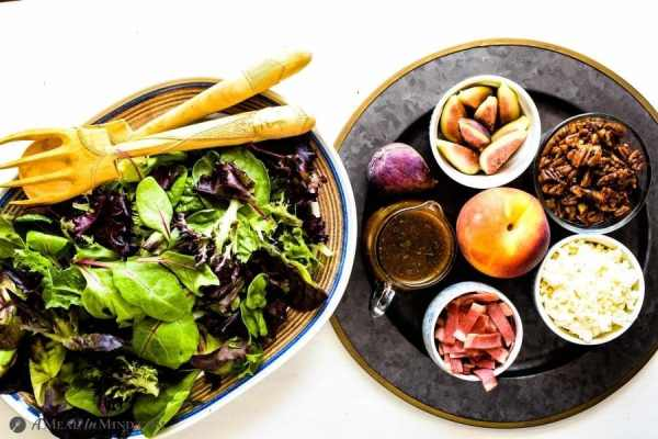 ingredients for Fig-Peach Pecan Salad on serving platters