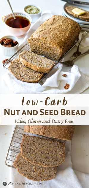 Low Carb Nut and Seed Bread pinterest collage