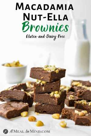 "Macadamia Nut""Ella"" Brownies 3 Ingredient pinterest image brownies stacked"