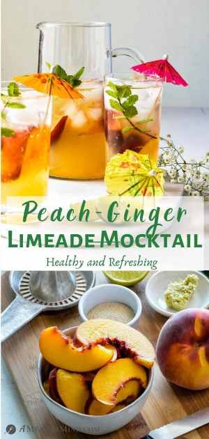 Peach-Ginger Limeade Mocktail pinterest collage