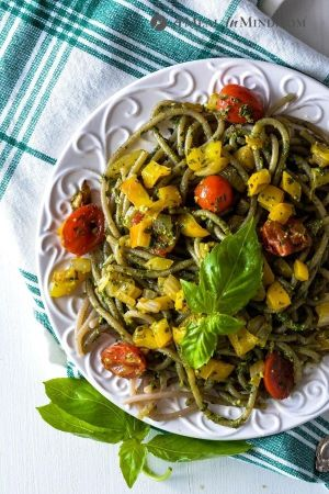 Pesto Pasta with sauteed vegetables