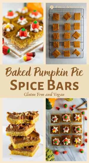 Pumpkin Pie Spice Bars Gluten-Free pinterest 4 part collage