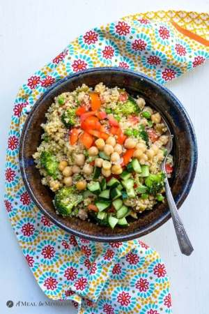 Mexican Quinoa Bowl with Corn and Peppers overhead