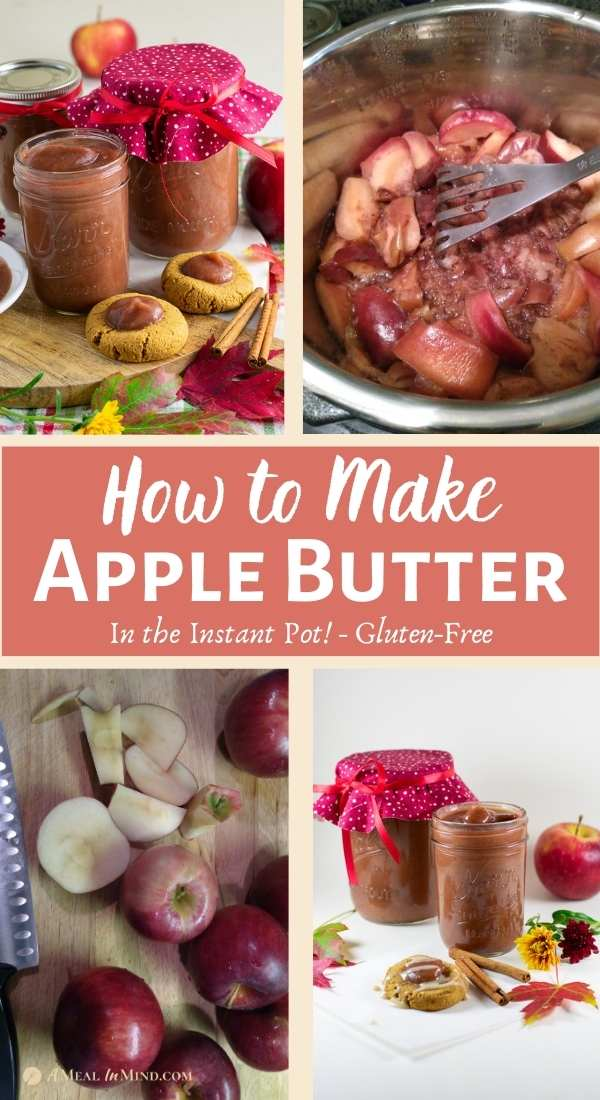 pinterest collage of steps in making apple butter
