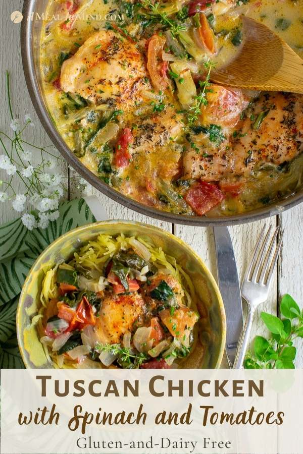 tuscan chicken with spinach and tomatoes pinterest image