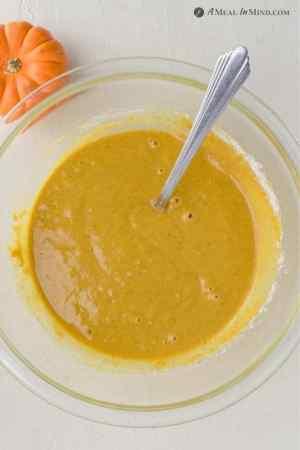 Pumpkin Protein Pancake batter in mixing bowl