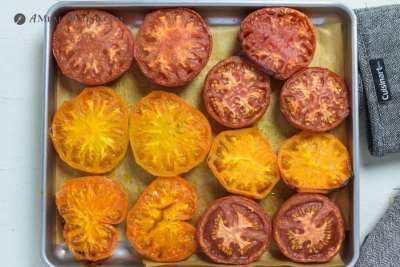roasted heirloom tomatoes on toaster oven tray