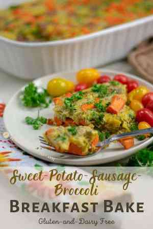 Sweet Potato Sausage Broccoli Breakfast Bake side view on ivory plate