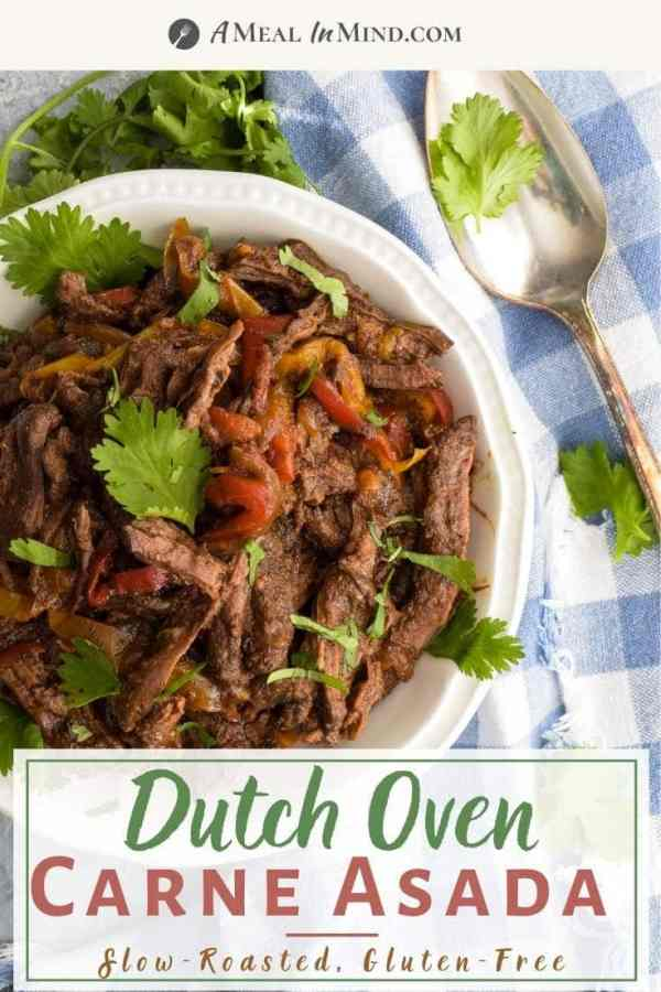 pinterest image of overhead view of dutch oven carne asada