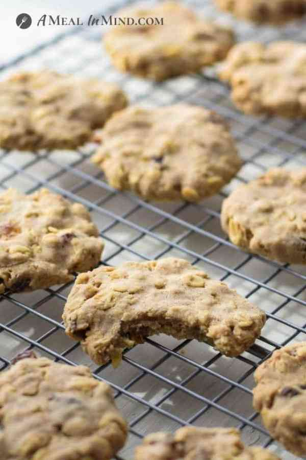 close-up of raisin-oatmeal cookies on cooling rack