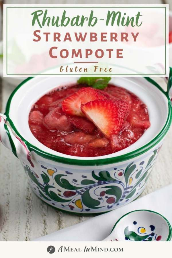 pinterest image of strawberry-rhubarb mint compote in patterned bowl