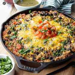 beef green chile one pan dinner in cast iron skillet