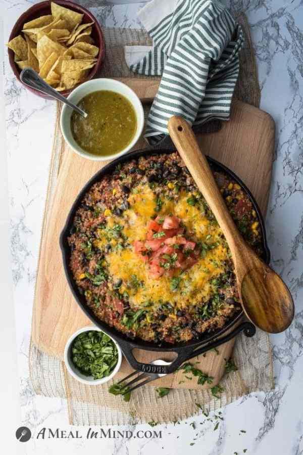 overhead view of beef quinoa skillet dinner