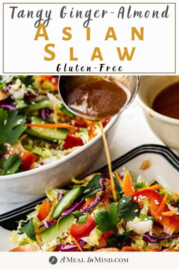 pinterest image of asian slaw with dressing being poured on