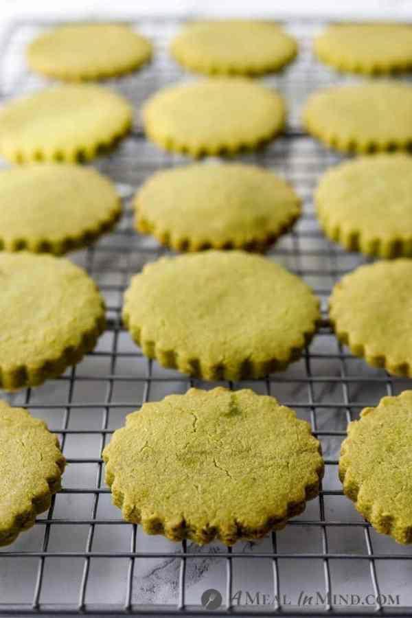 paleo matcha cookies on cooling rack