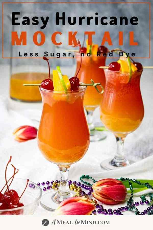 pinterest image of three hurricane mocktails in hurricane glasses with garnishes