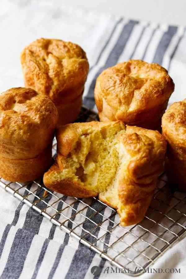 tapioca flour popovers with a split buttered one
