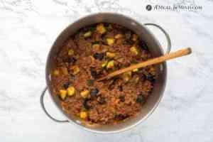 beef-vegetable mixture in stock pot
