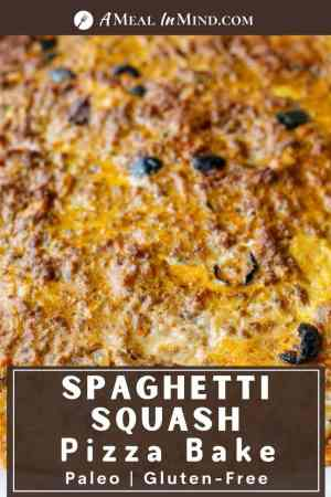 pinterest image of spaghetti squash pizza bake