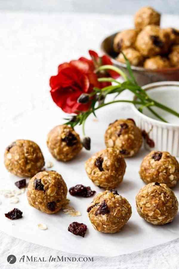 cherry almond-oat bites on baking paper