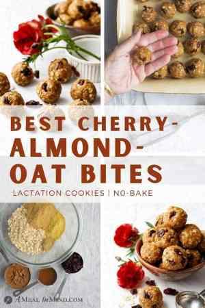 pinterest collage of cherry almond oat bites