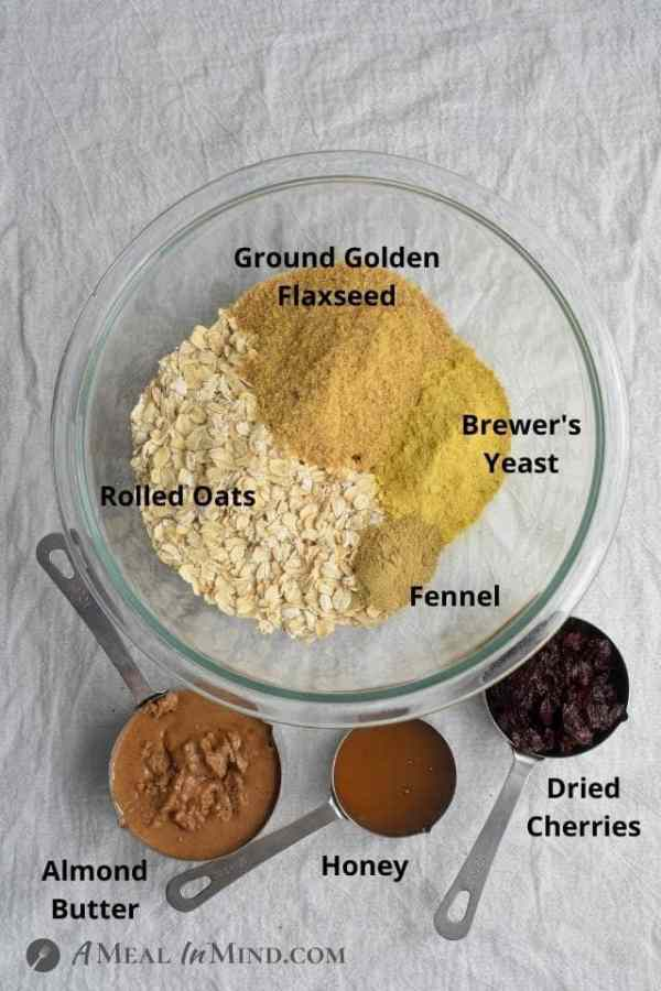 ingredients for cherry almond-oat lactation bites