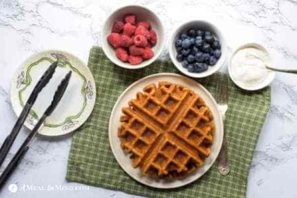 waffles with fruit and yogurt toppings