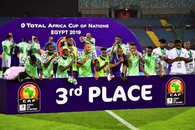Super Eagles celebrate AFCON 2019 bronze