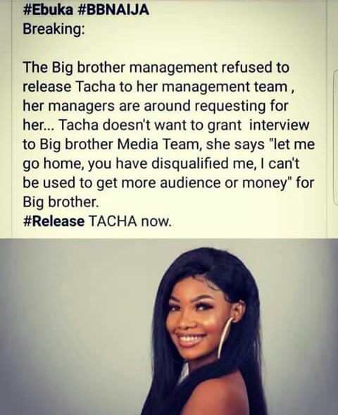 BBNaija Management Refused To Release Tacha To Her Management
