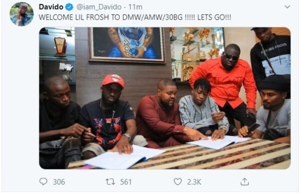 Davido Signs New Artiste, Lil Frosh To DMW, AMW Record Label (Photos)