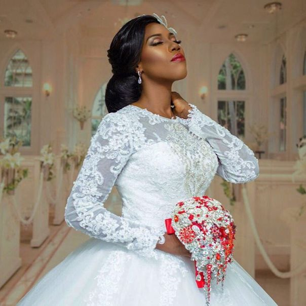 See How Gorgeous Ghanaian Actor Kofi Adjorlolo's Bride-to-be Looks In Wedding Gown