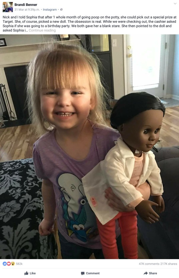 How 2-Year-Old Girl Sophia Benner Defended Her Choice Of A Doll With Different Skin Color