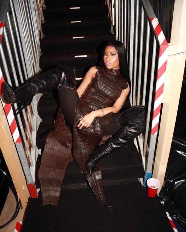 Nicki Minaj Spreads Her Legs Wide Open In Balmain Crocodile Dress At AmfAR Gala 2