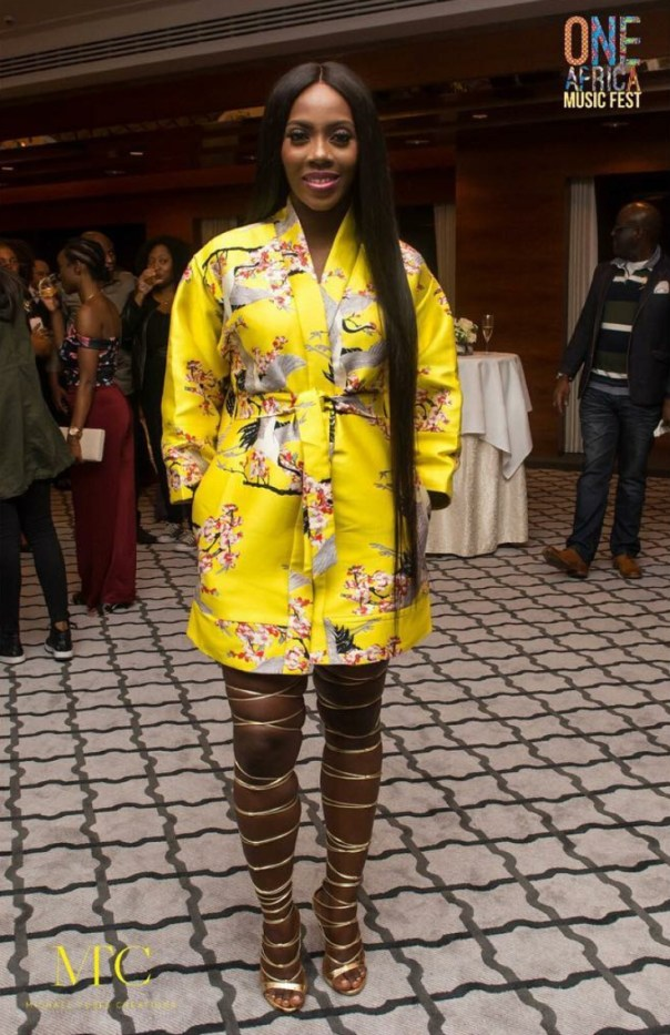 Tiwa Savage Shows How Gorgeous She Is In Kimono And Gold Strappy Knee High Heels 1