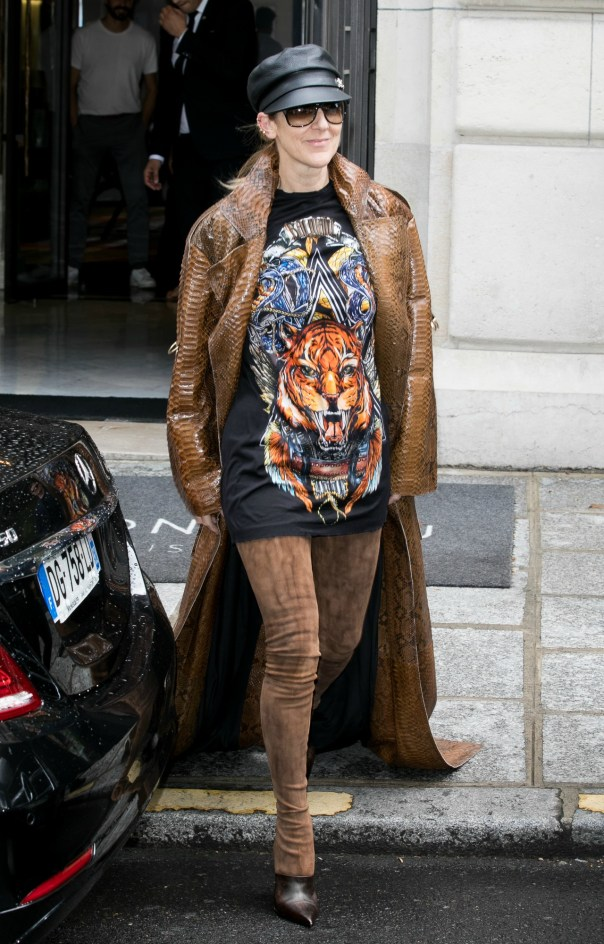 Celine Dion Rocked Thigh-High Boots And No Pants In Paris (1)