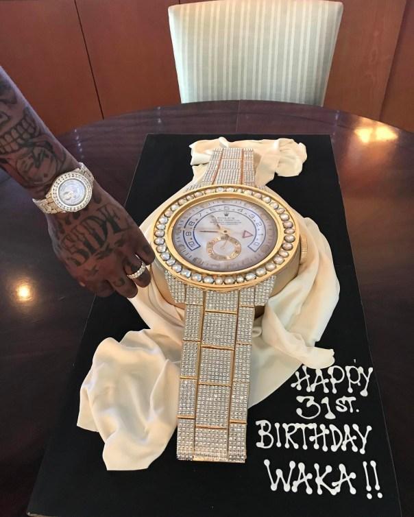 Gold Watch Cake Tammy Rivera Spoilt Her Husband Waka Flocka With To Celebrate His 31st Birthday